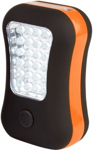 Abbey Camp camping LED zaklamp oranje/zwart 10 x 6,5 cm