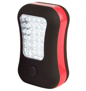 Abbey Camp camping LED zaklamp rood/zwart 10 x 6,5 cm