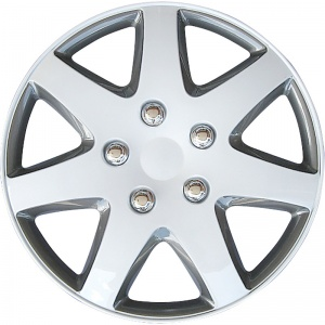 AutoStyle wieldoppen Michigan 15 inch ABS wit/grijs set van 4