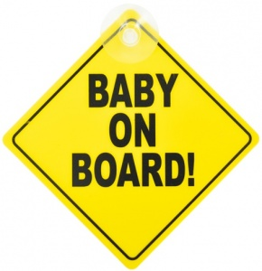 Carkids sign Baby on Board! English 12.5 yellow