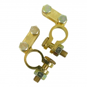 Carpoint battery terminal set (+) and (-) DIN 16/18 mm brass gold
