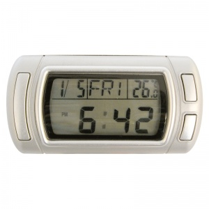 Carpoint car clock digital with date and thermometer 90 cm silver