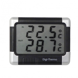Carpoint thermometer inside & outside 6 x 8 cm silver/black