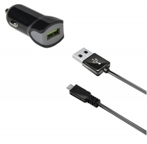 Celly autolader USB 12/24V 2.4A + Micro-USB-datakabel zwart
