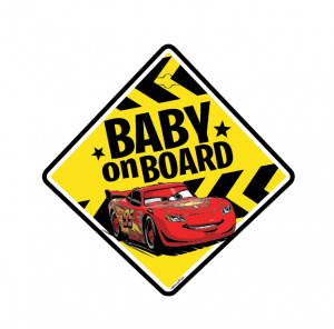 Disney autobord Cars Baby on Board! 13 cm PVC geel (en)