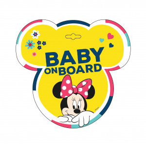 Disney autobord Minne Mouse Baby on Board! 13 cm PVC geel (en)