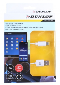 Dunlop datakabel Type-C / USB 2.A wit 100 cm