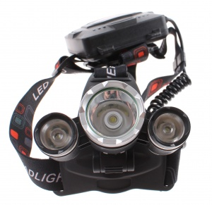 Dunlop headlight with 3 leds battery 9 x 8 cm black 3-piece