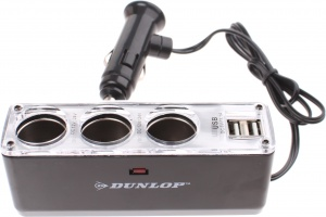 Dunlop 3-way splitter 12/24 Volt with two USB ports black