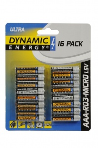 Dynamic Energy batteries ultra R03 AAA zinc 16 pieces