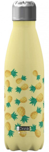 I-Drink drinkfles ananas 650 ml RVS geel