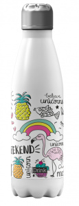 I-Drink drinkfles unicorn 650 ml RVS wit