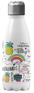 I-Drink thermosfles unicorn 350 ml RVS wit