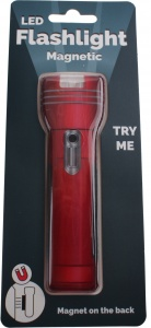 Johntoy magnetic flashlight 12 cm red