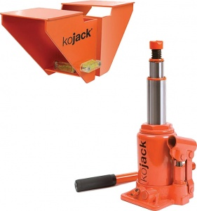 Kojack hydraulic caravan jack with spirit level 2 tons orange