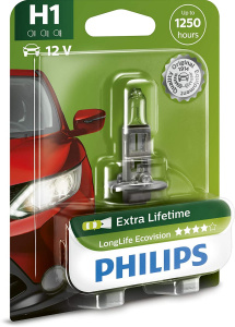 Philips lampe de voiture H1 LongLife Ecovision12V/55W blanc