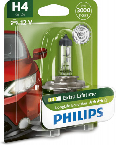 Philips autolamp H4 LongLife Ecovision 12V/55W wit