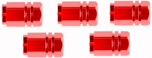 Race Sport valve caps Hexagon AV aluminum red 5 pieces