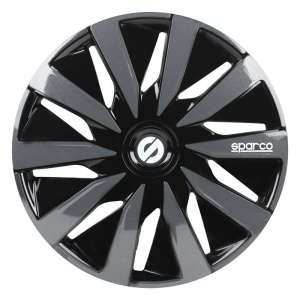 Sparco wheel covers Lazio 15 inch ABS black / gray set of 4