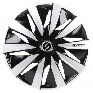 Sparco hubcaps Lazio 14 inch ABS black / silver set of 4