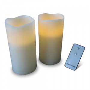 thumbsUp! remote controlled led candle set white 2-piece