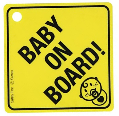 Car Plus bordje Baby on Board! engels 12,5 x 12,5 cm geel